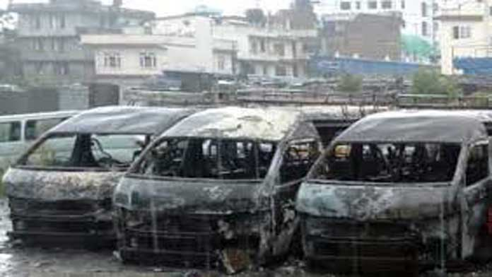 Fire in garage: Eight micro buses reduced to ashes in Kathmandu